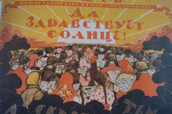 russian revolution reading propaganda poster